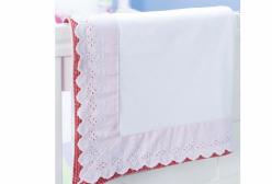 Manta para Bebê em Malha Bordado Inglês Branco e Xadrez Vermelho - Vermelho
