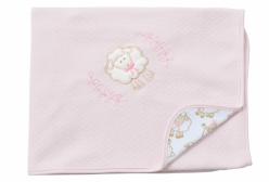 Manta para Bebê em Suedine Ovelhinha Algodão Doce Rosa Hug Baby