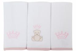 Pano de Boca para Bebê Atoalhado Urso com Coroa Rosa Just Baby