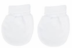 Par de Luvas para Bebê em Malha Branco