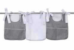 Porta Fraldas Soho Listrado Preto e Branco 3 peças