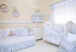 Quarto de Bebê Completo, Kit Berço, Kit Cama e Acessórios Theodore Azul 41 Itens