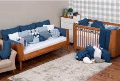 Quarto de Bebê, Kit Berço e Enxoval Tricô Triângulo Marinho