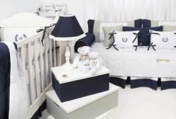Quarto de Bebê, Kit Berço, Kit Cama e Enxoval Fleur de Lis Marinho Laura Ashley
