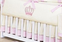 Saia para Berço Realeza Rosa com Marfim Ponto Palito