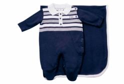 Saída Maternidade Azul Marinho com Listras Brancas e Cinza