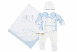 Saída Maternidade Bordado Inglês Bless Azul 5 peças