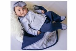 Saída Maternidade Casaco Mescla e Marinho 03 Peças