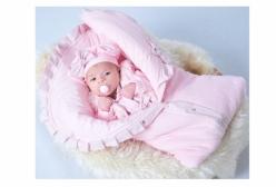 Saída Maternidade com Porta Bebê Rosa e Poá 03 Peças