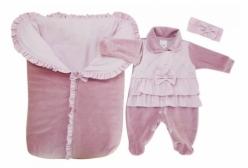 Saída Maternidade em Plush com Porta Bebê Rosa 03 Peças