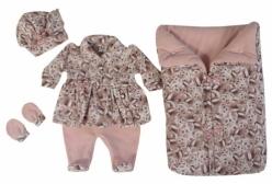 Saída Maternidade em Soft Cherry Ursinhos Rosé 04 Peças