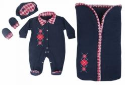 Saída Maternidade em Soft com Porta Bebê Xadrez Argyle 04 Peças