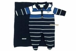 Saída Maternidade em Tricô Polo Azul Royal Noruega Baby