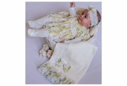 Saída Maternidade Lipari Floral Amarelo 03 Peças
