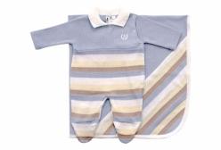 Saída Maternidade Listras Azul, Marfim e Nude