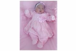 Saída Maternidade Luxo em Renda Rosa 03 Peças