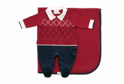 Saída Maternidade Menino Suéter Vermelho Gola Camisa Noruega Baby