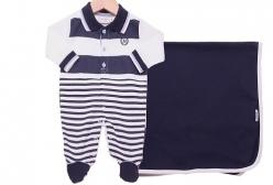 Saída Maternidade Polo Marinho Noruega Baby - Branco e Marinho