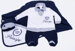 Saída Maternidade Príncipe Camisa Listrado Marinho 03 peças