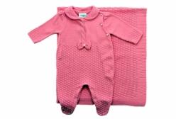Saída Maternidade Rosa Pink com Laço Perola