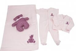 Saída Maternidade Tweed em Suedine de Fio Egípcio 4 Peças - Rosa