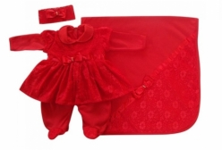 Saída Maternidade Vestido de Princesa Renda Vermelho 3 Peças