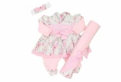 Saída Maternidade Vestido Poá Rosas 03 Peças