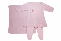 Saída Maternidade Vestido Rosa 3 Peças