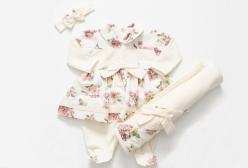 Saída Maternidade Vestido Rosas 03 Peças