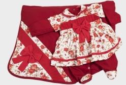 Saída Maternidade Vestido Rosas Vermelho 03 Peças