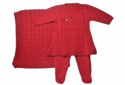 Saída Maternidade Vestido Vermelho 3 Peças