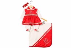 Saída Maternidade Vestido Vermelho Princesa 04 Peças