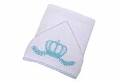 Toalha de Banho Felpuda Revestida Coroinha Azul