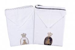 Toalha de Banho para Bebê Bordada Luxo Imperial (2 cores) - Marinho