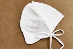 Touca para Bebê em Malha Cobre Orelhinha Branca  - Branco
