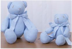 Ursinho em Tecido Articulado Xadrez Azul 2 peças