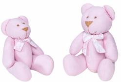 Ursinho em Tecido Rosa com Laço Jouy 2 Peças