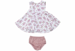 Vestido Bata Floral com Calcinha Rose Coquelicot 02 Peças