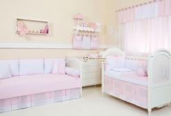 Cortina para Quarto de Bebê em Voil com Bandô Bless Rosa