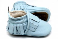 Sapatinho de Bebê Mocassim com Franja Gabi Azul