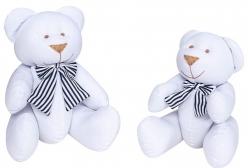 Ursinho em Tecido Branco com Laço Marinho P ou G - 1 Peça - Branco e Marinho