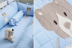 Kit 3 Panos de Boca Bordados em Fralda Blue Dog Coquelicot - Azul