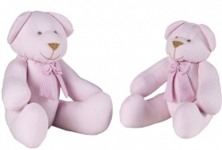 Ursinho em Tecido Rosa com Laço Xadrez Rosa P ou G 1 Peça  - Rosa