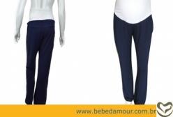 Calça Pantalona Barrigueira para Gestante Menina & Meninas - Azul Marinho